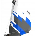Volvo Open 70 with mainsail and code zero.