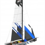 Volvo Open 70 with mainsail and jib.