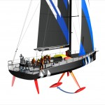 Volvo Open 70 showing the movement of the canting keel.