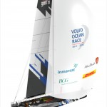 Volvo Open 70 with mainsail and spinnaker.